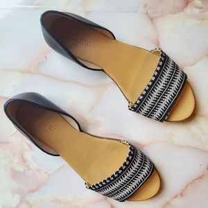 J Crew Factory Black Leather Stripe Textile Flats